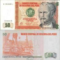 Peru Pick-Nr: 131a Bankfrisch 1986 50 Intis - Perú