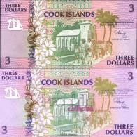Cookinseln Pick-Nr: 7a Bankfrisch 1992 3 Dollars - Cook Islands