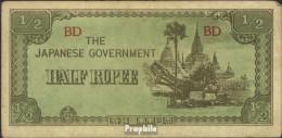 Birma Pick-Nr: 13b Bankfrisch 1942 1/2 Rupee - Myanmar