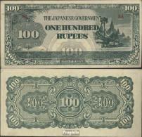 Birma Pick-Nr: 17b Bankfrisch 1944 100 Rupees - Myanmar