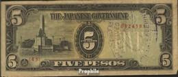 Philippinen Pick-Nr: 110a Gebraucht (III) 1943 5 Pesos - Philippinen