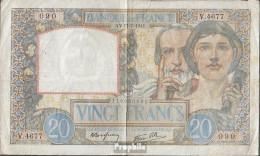 Frankreich Pick-Nr: 92b (1941), Gelocht Stark Gebraucht (IV) 1941 20 Francs - Schatzamt