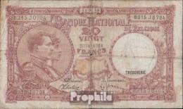 Belgien Pick-Nr: 111 (1940) Stark Gebraucht (IV) 1940 20 Francs - [ 2] 1831-...: Belg. Königreich
