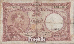 Belgien Pick-Nr: 111 (1940) Stark Gebraucht (IV) 1940 20 Francs - [ 2] 1831-... : Koninkrijk België