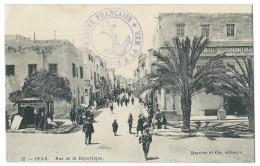 SFAX - TUNISIE - Rue De La République - Animée - Cachet Marine Française - Service à La Mer - Ed. Barnier Et Cie - Tunisie