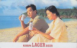 RARE Télécarte Japon / 110-011 - Alcool - BIERE KIRIN & Femme - BEER & Girl On Beach Japan Phonecard - BIER TK - 767 - Alimentación