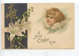 A Joyous Easter Tu You (ange Croix Dorée Fleur De Lys Feuilles Ginkgo Biloba) - Saint-Nicolas