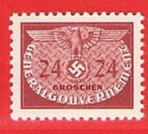 MiNr.21 Xx  Deutschland Besetzungsausgaben II. Weltkrieg Generalgouvernement Dienstmarken - Besetzungen 1938-45