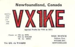 Amateur Radio QSL Card - VX1KE - Newfoundland, CANADA - 1974 - 2 Scans - Radio Amateur