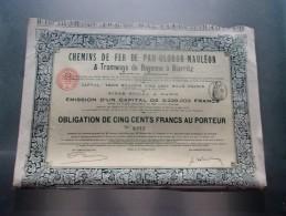 CHEMINS DE FER DE PAU OLORON MAULEON & Tramways De Bayonne A Biarritz (1908) - Non Classés