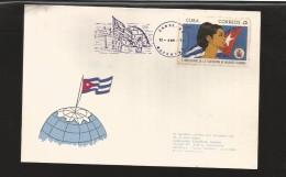 E)1970 CUBA, WOMAN'S FEDERATION, 10TH ANNIV, SC 1546 A407, NORTH POLE FANCY CANCE,.  WITH HINGED, CARD - Kuba
