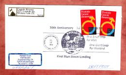 Luftpostbrief, MeF Prostate Cancer, SoSt First Man Moon Landing Cleveland, Nach Winterlingen 1999 (31274) - Briefe U. Dokumente