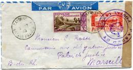 GUYANE LETTRE PAR AVION CENSUREE DEPART CAYENNE 7-12-40 GUYANE FRANCAISE POUR LA FRANCE - Guyane Française (1886-1949)