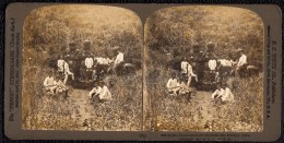 STEREOSCOPIE JAPAN - ANCIENT TOMBSTONES IN THE MOUNTAINS NEAR ASHINOYU ( Hakone ) - Japon