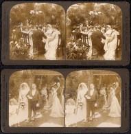 2 X STEREOSCOPIE  MARIAGE - WEDDING - MATRIMONIO - EHE - In Late 1800 !! - Marriages