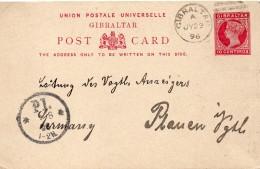Gibraltar Entier Postal Pour L'Allemagne 1896 - Gibilterra
