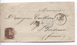 TP 16 S/L. C.Liège 16/1/1864 Bureaux De Direction 18 Barres 73 + Ambt Belg.-Erquelinnes 17/1/64 V.Bordeaux France PR3190 - Postmark Collection