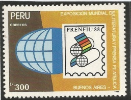 RB)1990 PERU, PHILATELY, PRESS, WORLD EXPOSITION OF STAMP & LITERATURE PRINTERS, BUENOS AIRES.  SC 985 A419, S/S, MNg - Peru