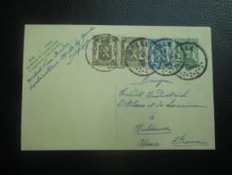 Entier Postal Avec Complément D'affarnchissement Pour La France - MELLE 1937 - Franking Machines