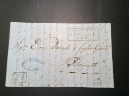 Russie Russia Russian Levant ROPIT  SMYRNE 1860 On Cover Front > Beyrouth  /  Levant Russe Lettre Turkey Turquie - 1857-1916 Empire