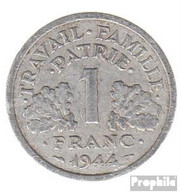 Frankreich KM-Nr. : 902 1944 B Vorzüglich Aluminium Vorzüglich 1944 1 Franc Doppelaxt - H. 1 Franc