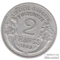 Frankreich KM-Nr. : 886 1945 B Sehr Schön Aluminium Sehr Schön 1945 2 Francs Laureate - Frankreich