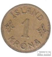 Island KM-Nr. : 3 1940 NGJ Sehr Schön Aluminium-Bronze Sehr Schön 1940 1 Krona Gekröntes Wappen - Island