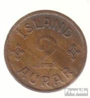 Island KM-Nr. : 6 1940 NGJ Sehr Schön Bronze Sehr Schön 1940 2 Aurar Gekröntes Monogramm - Island