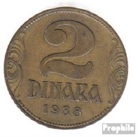 Jugoslawien 20 1938 Vorzüglich Aluminium-Bronze Vorzüglich 1938 2 Dinara Krone - Jugoslawien