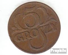 Polen KM-Nr. : 10 1937 Vorzüglich Bronze Vorzüglich 1937 5 Groszy Gekrönter Adler - Polen
