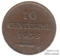San Marino KM-Nr. : 13 1937 Vorzüglich Bronze Vorzüglich 1937 10 Centesimi Wappen - San Marino