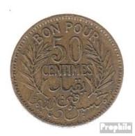 Tunesien KM-Nr. : 246 1933 Sehr Schön Alunimium-Bronze Sehr Schön 1933 50 Centimes Datum Im Kranz - Tunesien