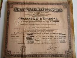 CAISSE GENERALE DE PARIS  -  Obligation D´Epargne De Cinq Cents Francs N° 70,295 De 1898 - Banque & Assurance