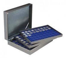 Lindner 2365-2154ME Münzkassette NERA XL Mit 3 Tableaus Und Dunkelblauen Münzeinlagen Für 162 Münzen Mit Ø 25,75 Mm - Supplies And Equipment