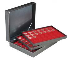 Lindner 2365-2530E Münzkassette NERA XL Mit 3 Tableaus Und Hellroten Münzeinlage Für 105 Münzkapseln Mit Außen-Ø 3 - Supplies And Equipment