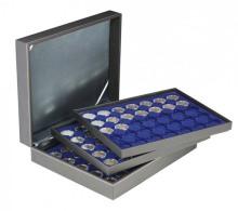 Lindner 2365-2530ME Münzkassette NERA XL Mit 3 Tableaus Und Dunkelblauen Münzeinlagen Für 105 Münzkapseln Mit Außen - Supplies And Equipment