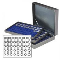 Lindner 2365-2556ME Münzkassette NERA XL Mit 3 Tableaus Und Dunkelblauen Münzeinlagen Für 15 Euro-Kursmünzensätze I - Supplies And Equipment