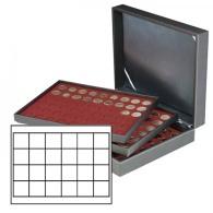 Lindner 2365-2724E Münzkassette NERA XL Mit 3 Tableaus Und Dunkelroten Münzeinlagen Mit 72 Quadratischen Fächern Für - Supplies And Equipment