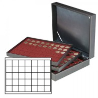 Lindner 2365-2735E Münzkassette NERA XL Mit 3 Tableaus Und Dunkelroten Münzeinlagen Mit 105 Quadratischen Fächern Fü - Supplies And Equipment
