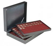 Lindner 2365-2754E Münzkassette NERA XL Mit 3 Tableaus Und Dunkelroten Münzeinlagen Für 162 Münzen Mit Ø 25,75 Mm, - Supplies And Equipment