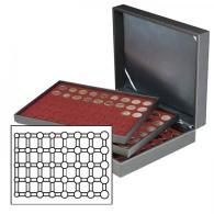 Lindner 2365-2956E Münzkassette NERA XL Mit 3 Tableaus Und Dunkelroten Münzeinlagen Für 15 Euro-Kursmünzensätze In - Supplies And Equipment