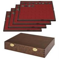 Lindner S2494-10 Echtholzkassette Mit 4 Tableaus Für 216 Münzen Mit Ø 25,75 Mm, Z.B. Für 2 Euro-Münzen - SONDEREDIT - Supplies And Equipment
