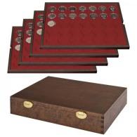 Lindner S2494-11 Echtholzkassette Mit 4 Tableaus Für 140 Münzkapseln Mit Außen-Ø 32 Mm, Z.B. Für 2 Euro-Münzen In - Supplies And Equipment
