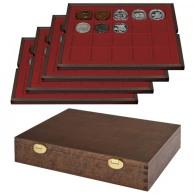 Lindner S2494-2 Echtholzkassette Mit 4 Tableaus Für 80 Münzen/Münzkapseln Bis Ø 47 Mm - SONDEREDITION - Supplies And Equipment