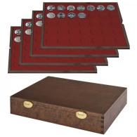 Lindner S2494-7 Echtholzkassette Mit 4 Tableaus Für 140 Münzen Mit Ø 32,5 Mm, Z.B. Für Deutsche 20 Euro- Bzw. 10 Eur - Supplies And Equipment