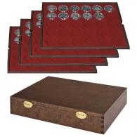 Lindner S2494-9 Echtholzkassette Mit 4 Tableaus Für 120 Münzkapseln Mit Außen-Ø 37 Mm, Z.B. Für Orig. Verkapselte D - Supplies And Equipment