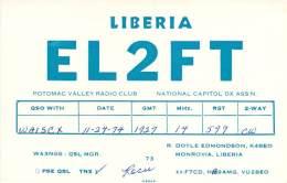 Amateur Radio QSL Card - EL2FT - Monrovia, Liberia - 1974 - Radio Amateur