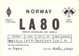 Amateur Radio QSL Card - LA8O - Onsrud, Norway - 1974 - Radio Amateur