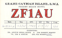 Amateur Radio QSL Card - ZF1AU - Cayman Islands - 1975 ARRL DX Contest - 2 Scans - Radio Amateur