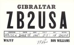 Amateur Radio QSL Card - ZB2USA - Gibraltar - 1975 - Radio Amateur